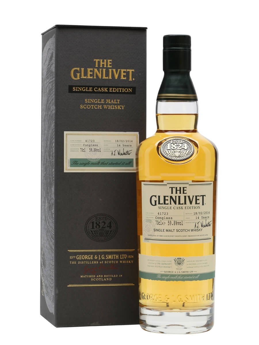 glenlivet 14 year old conglass single cask scotch whisky the