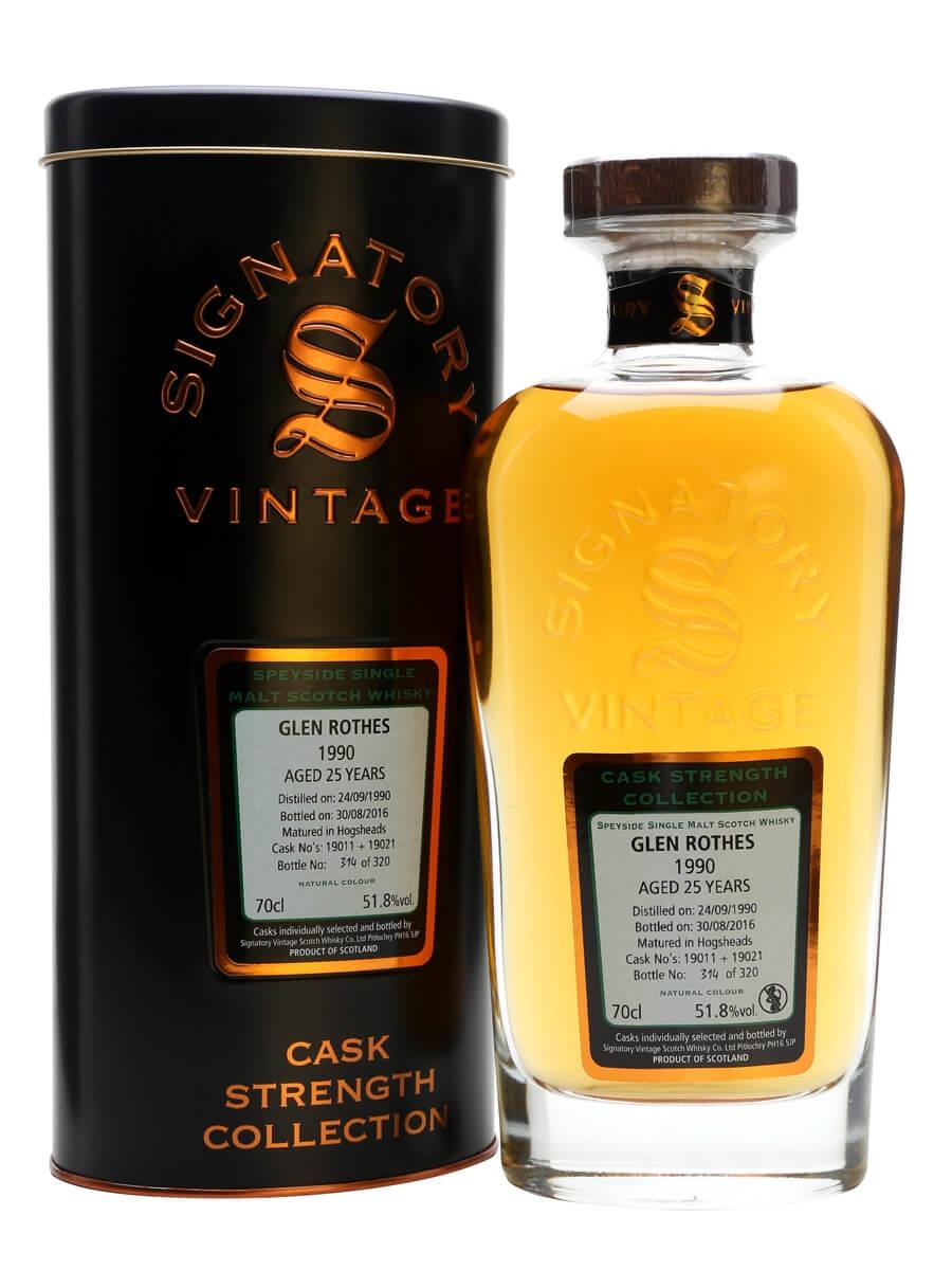 970b3f84aa7 Glenrothes 1990 25 Year Old Signatory. 70cl   51.8%. Speyside Single Malt  Scotch Whisky ...