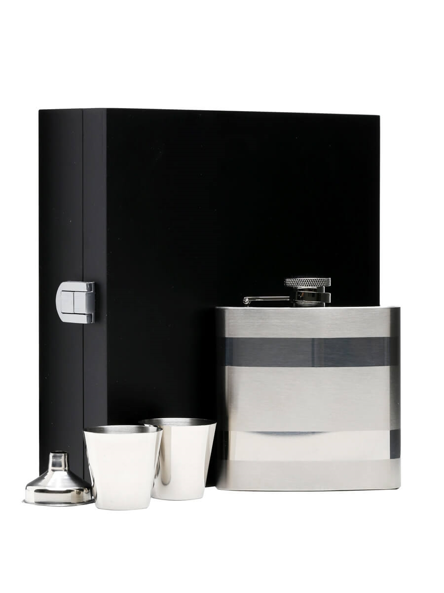 Satin & Polished Stainless Steel Hip Flask / Funnel & 2 Cups