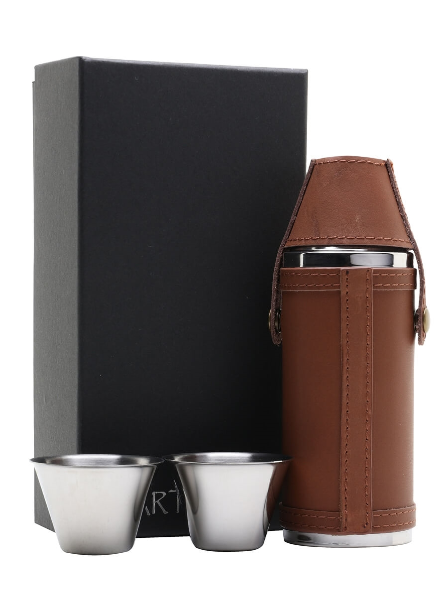 Brown Leather Hunting Hip Flask & 2 Cups / 225ml