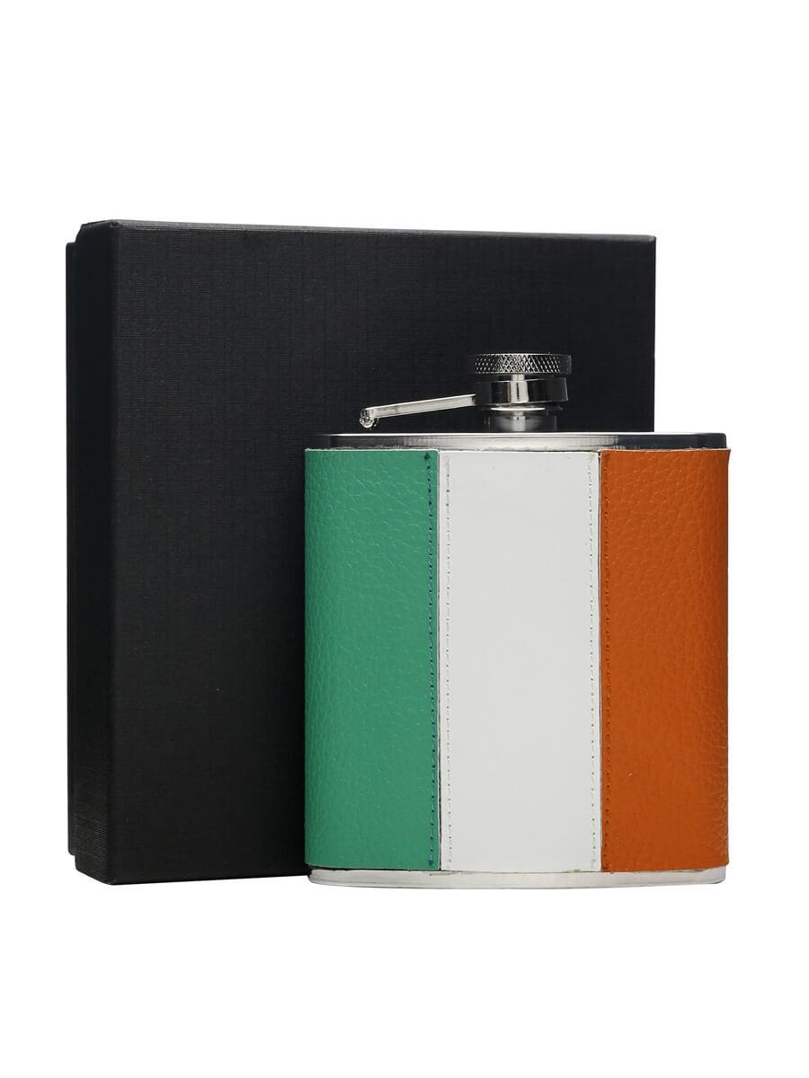 Irish Flag Stainless Steel & Leather Hip Flask / 170ml