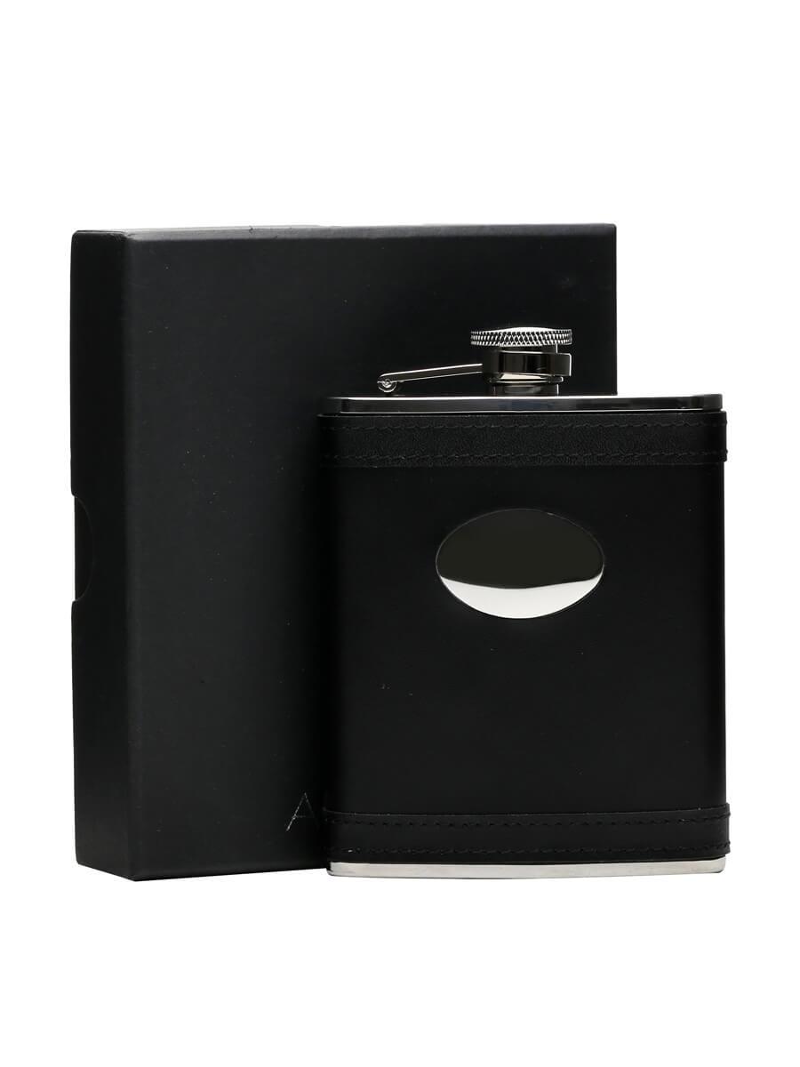 Black Lambskin Stainless Steel Flask & Engraving Plate/170ml