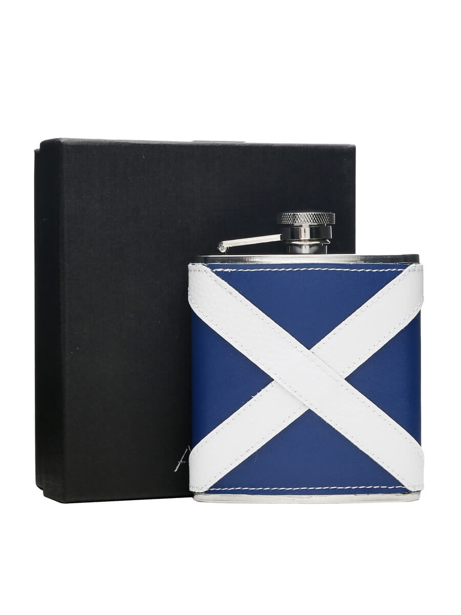 scottish flag leather u0026 stainless steel hip flask 170ml the