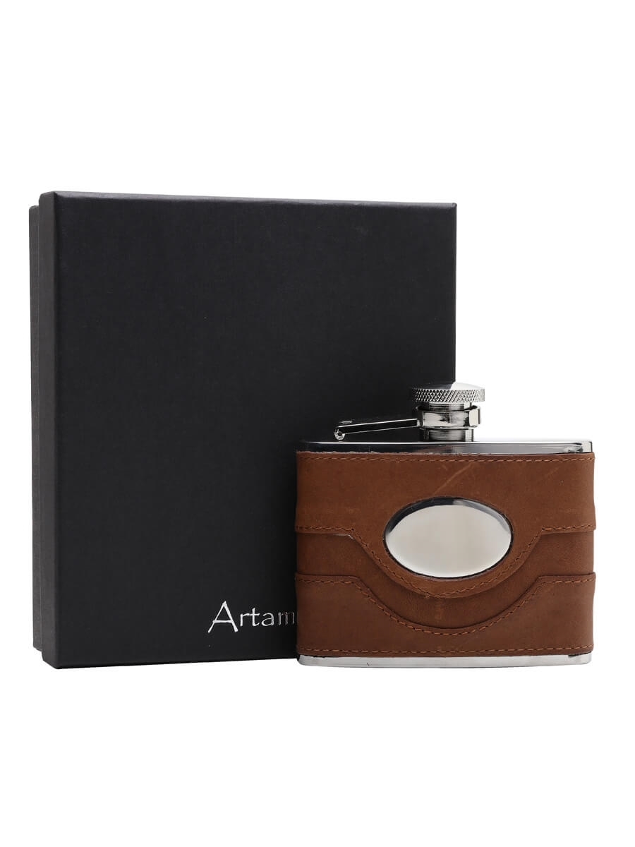 Brown Leather & Steel Hip Flask with Engraving Plate / 110ml