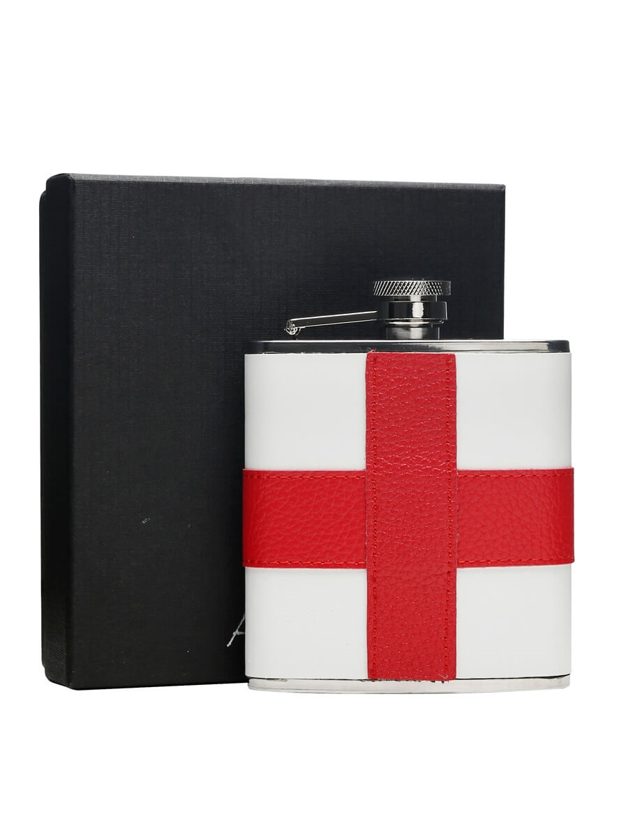 St George Cross Leather & Stainless Steel Hip Flask / 170ml