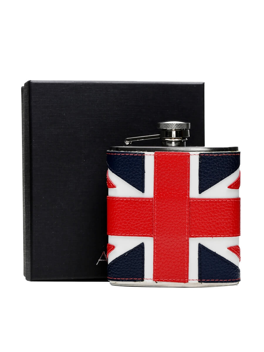 Union Flag Leather Stainless Steel Hip Flask / 170ml