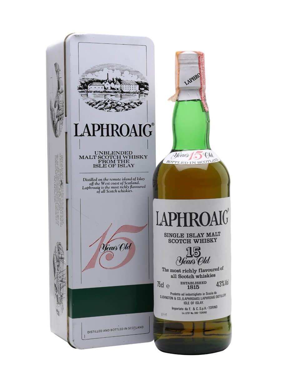 Laphroaig 15 Year Old / Bot. Late 1980s / F & C Import (Cinzano)