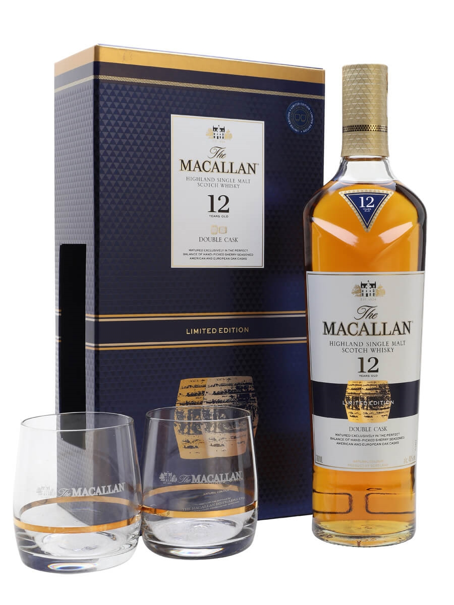 291ff073af5 Macallan 12 Year Old - Double Cask + 2 Glasses Set Scotch Whisky ...