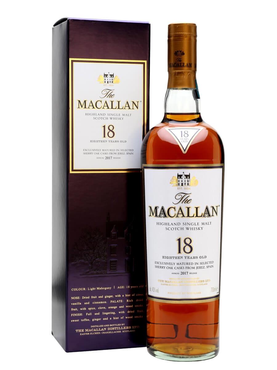 macallan 18 year old sherry oak 2017 release scotch