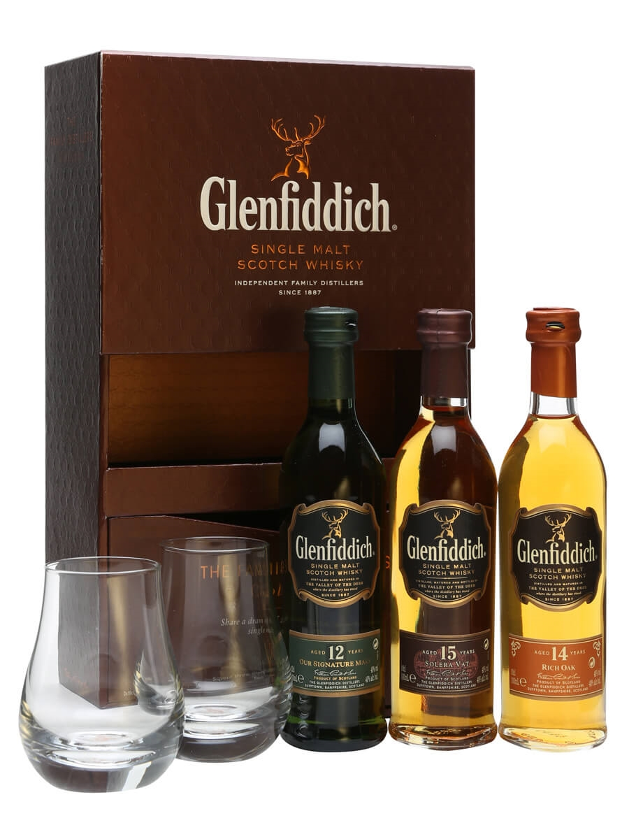 glenfiddich miniature 3 pk 2 glasses 3x10cl the whisky exchange. Black Bedroom Furniture Sets. Home Design Ideas