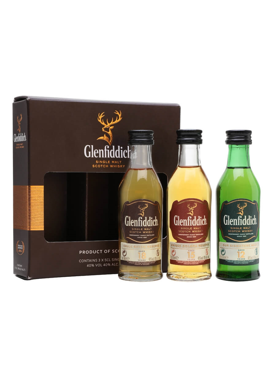 Glenfiddich Mini Pack / 12 Year Old, 15 Year Old & 18 Year Old Miniature