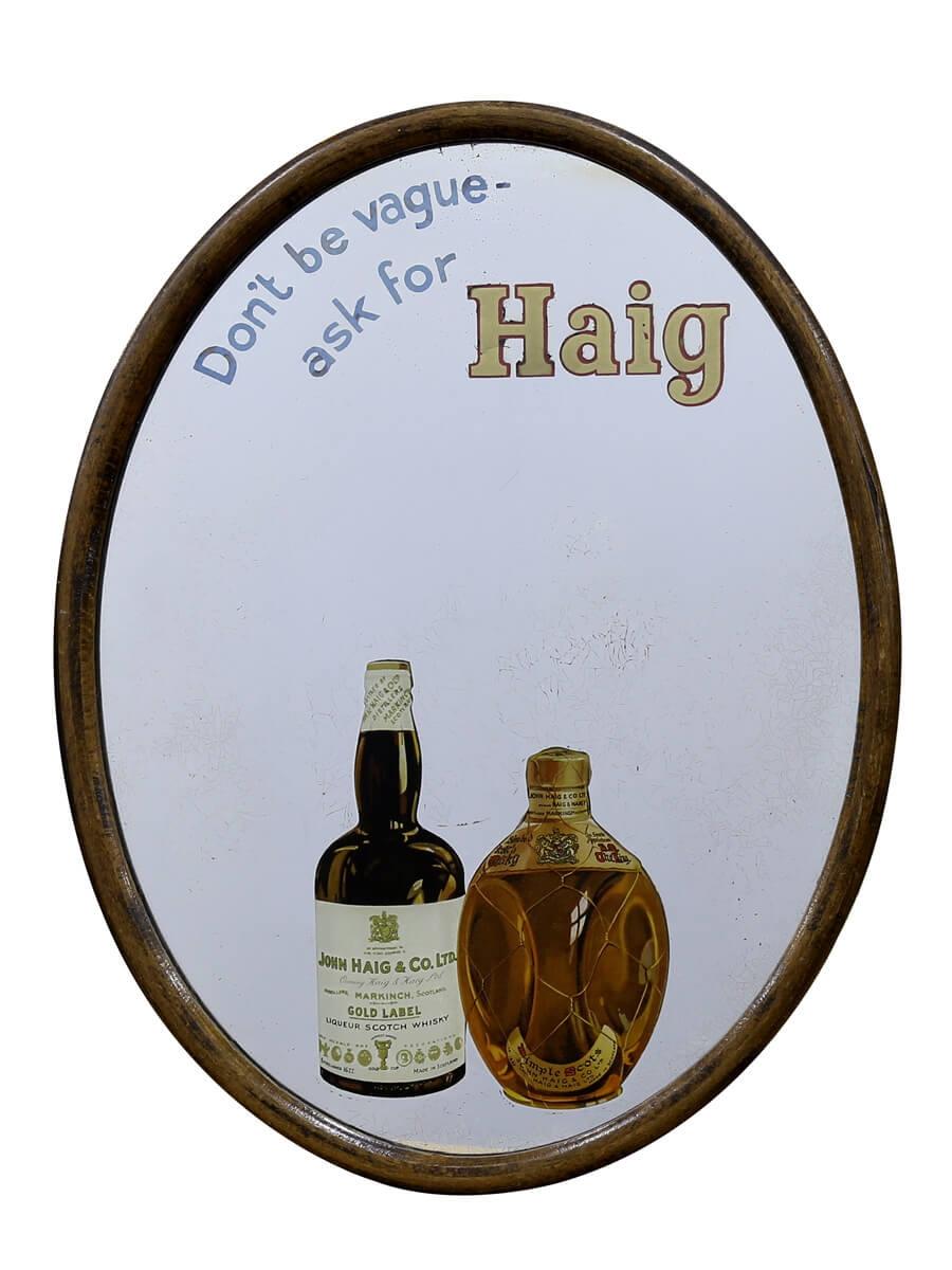 Haig Oval Advertising Mirror / 29 X 39cm