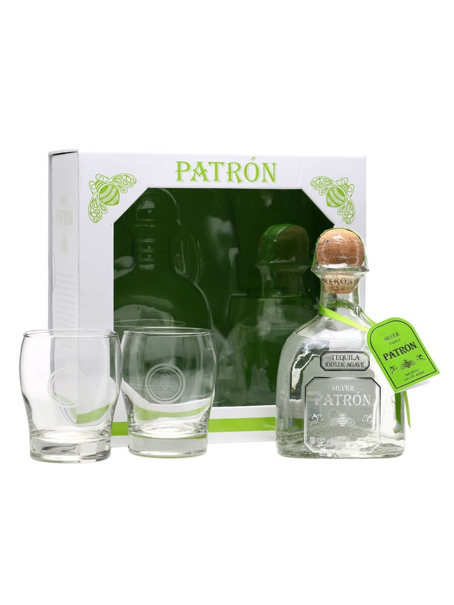 Patron Silver Tequila - Glass Gift Pack : The Whisky Exchange