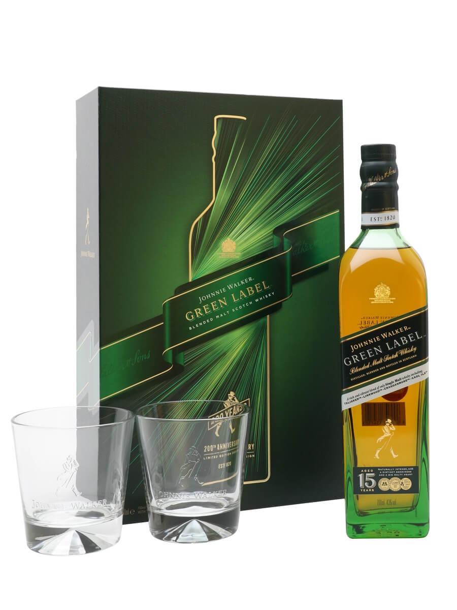 Johnnie Walker Green Label 15 Year Old / Glass Set