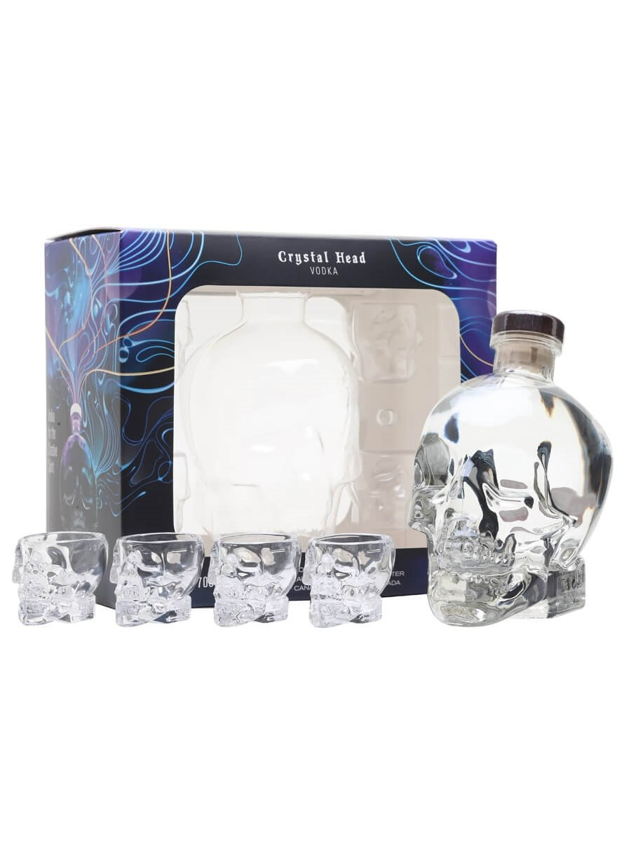 Crystal Head Gift Pack + 4 Shot Glasses