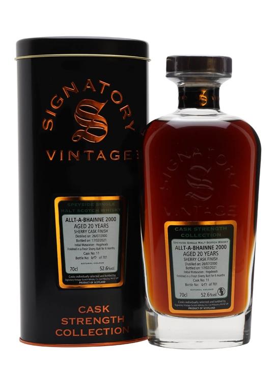 Allt-a-bhainne 2000 / 20 Year Old / Sherry Cask /  Signatory Speyside Whisky