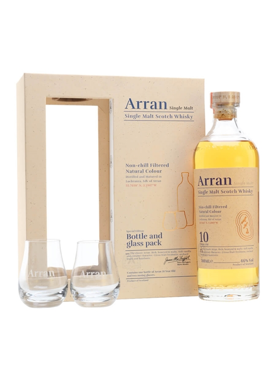Arran 10 Year Old / Glass Pack Island Single Malt Scotch Whisky