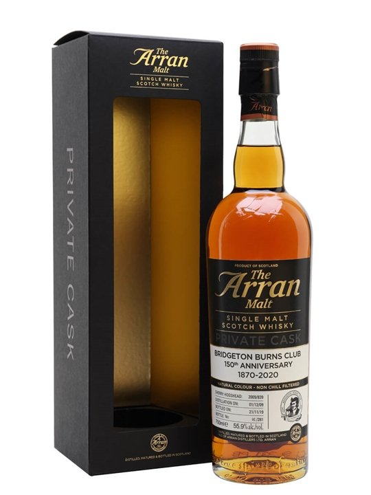Arran 2009 / Bridgeton Burns Club 150th Anniversary Island Whisky