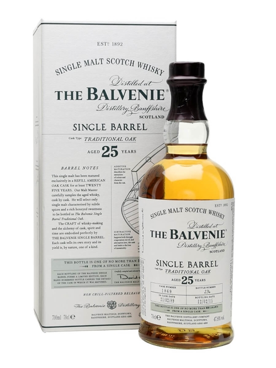 Balvenie 25 Year Old / Single Barrel Traditional Oak Speyside Whisky