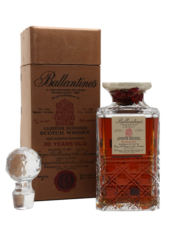 Ballantines 30 Year Old / Crystal Decanter / Bot.1950s Blended Whisky