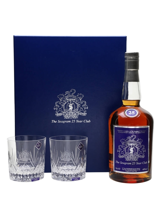 Seagram 25 Year Old Club With 2 Glasses Blended Scotch Whisky