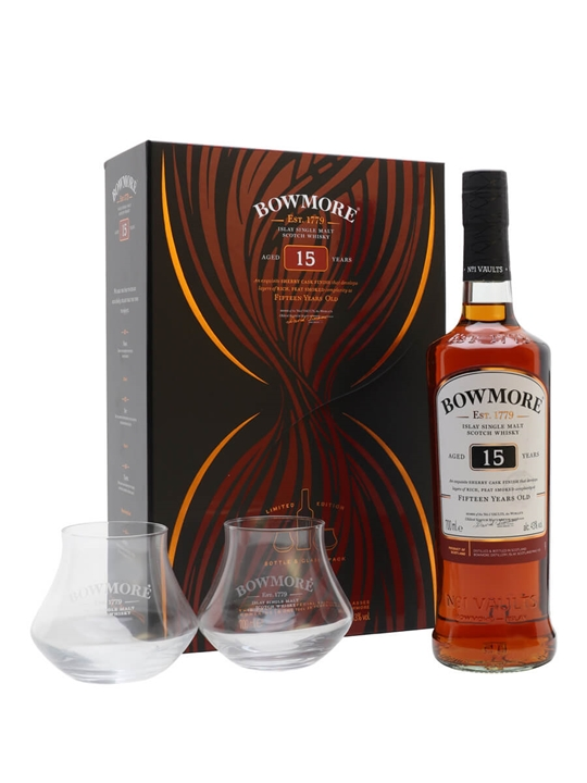 Bowmore 15 Year Old + 2 Glasses Set Islay Single Malt Scotch Whisky