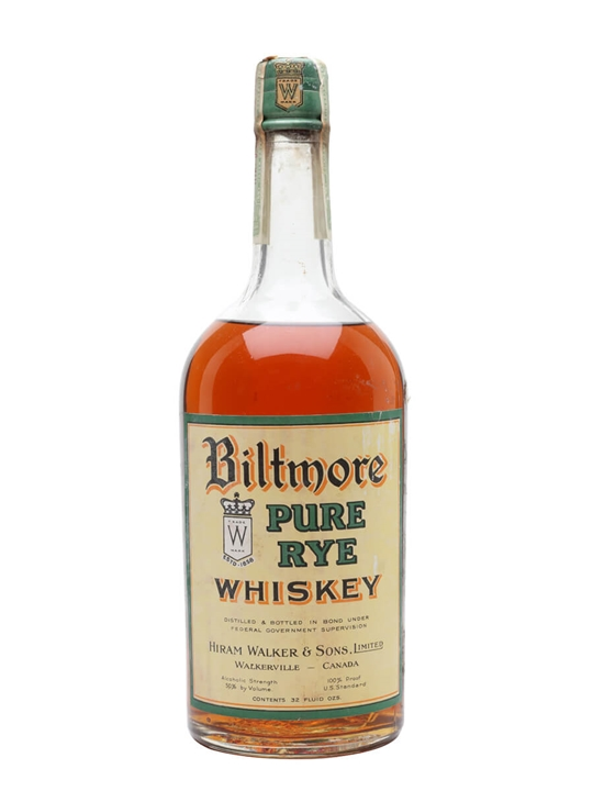 Biltmore Pure Rye Whiskey / Bot.1920s / Hiram Walker