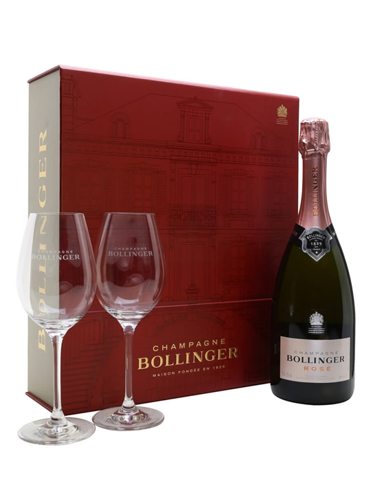 Bollinger Rose NV Champagne / 2 Glasses Gift Pack