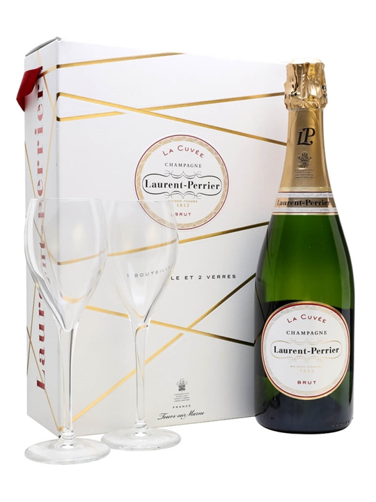 Laurent-Perrier La Cuvee Brut Champagne / 2 Glasses Gift Set