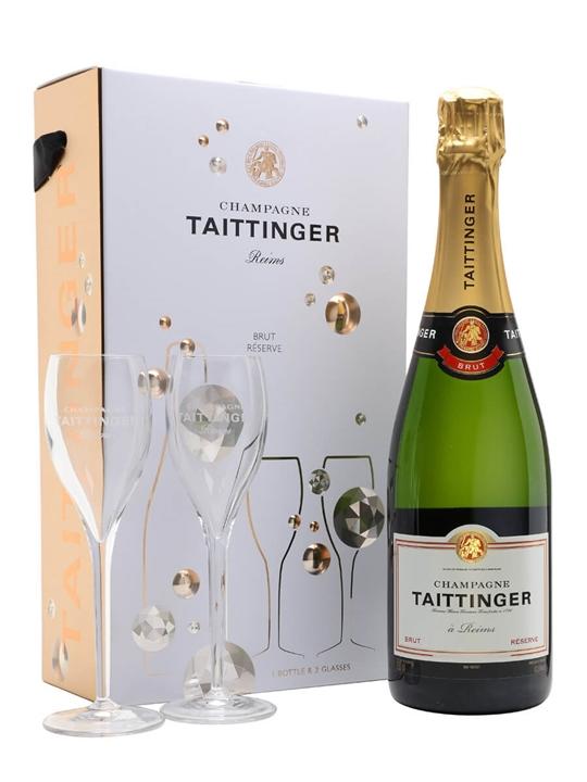 Taittinger Brut Reserve Champagne / Glass Set