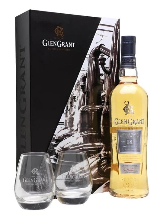Glen Grant 18 Year Old + 2 Glasses Pack Speyside Whisky