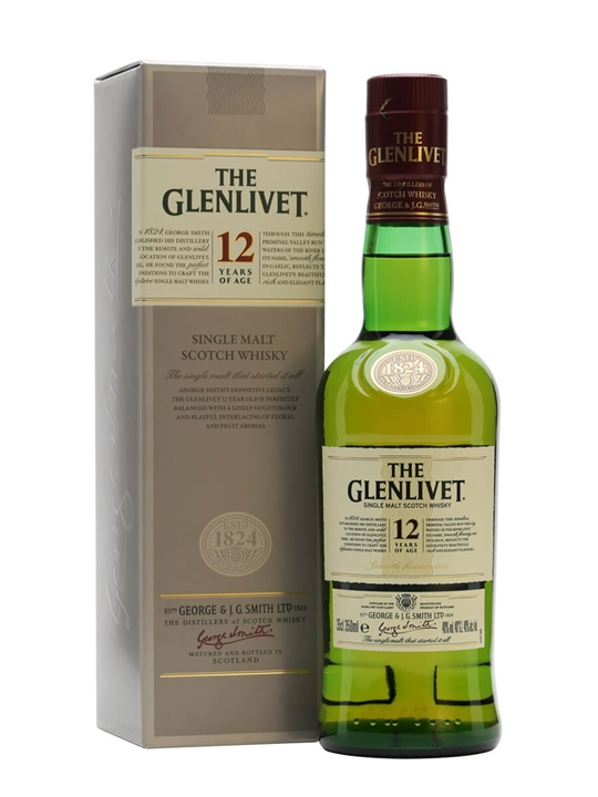Glenlivet 12 Year Old / Half Bottle Speyside Single Malt Scotch Whisky