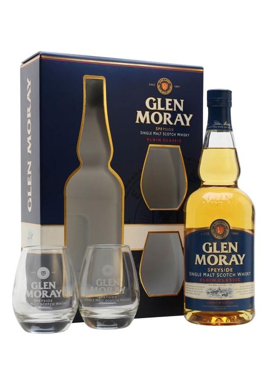 Glen Moray Classic / Glass Set Speyside Single Malt Scotch Whisky