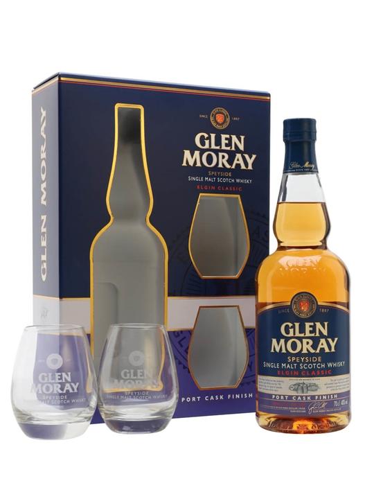 Glen Moray Port Cask Finish / Glass Set Speyside Whisky