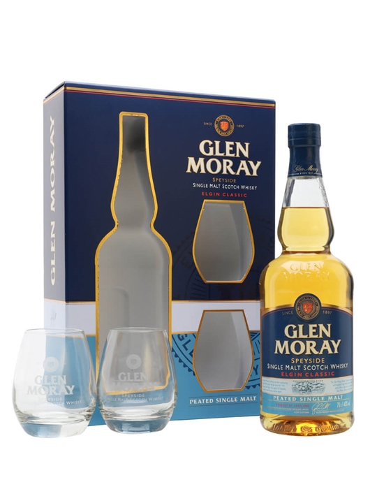 Glen Moray Peated / Glass Set Speyside Single Malt Scotch Whisky