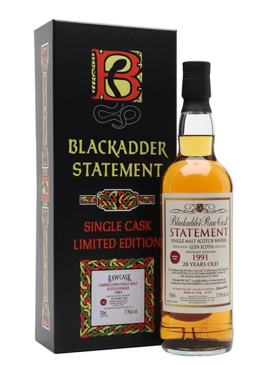 Glen Scotia 1991 / 28 Year Old / Blackadder Statement No 33 Campbeltown Whisky