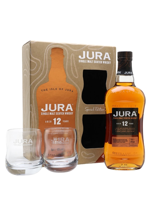 Jura 12 Year Old / Glass Set Island Single Malt Scotch Whisky