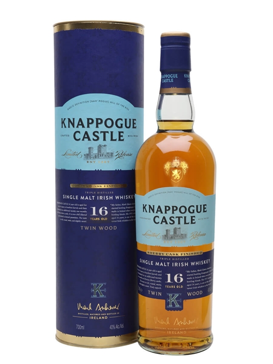 Knappogue Castle 16 Year Old Twin Wood (40%) Irish Single Malt Whiskey
