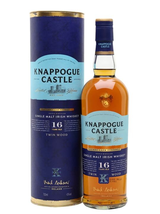 Knappogue Castle 16 Year Old Twin Wood (43%) Irish Single Malt Whiskey