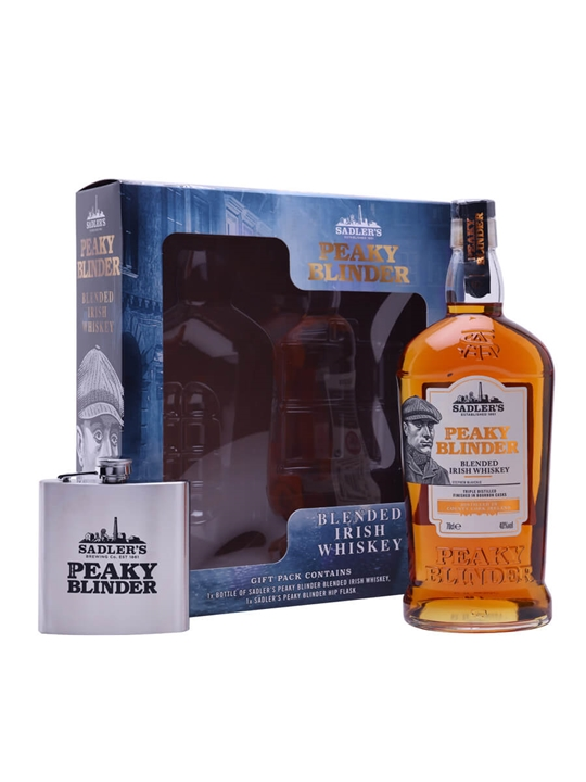 Sadler's Peaky Blinder Irish Whiskey / Hip Flask Gift Set