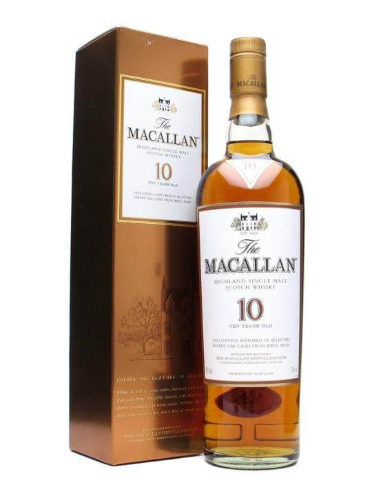 Macallan 10 Year Old / Sherry Oak Speyside Single Malt Scotch Whisky