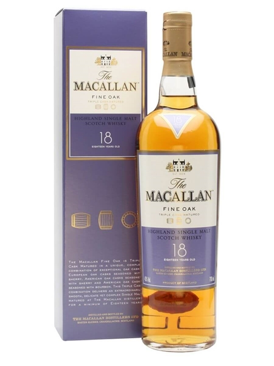 Macallan 18 Year Old / Fine Oak Speyside Single Malt Scotch Whisky