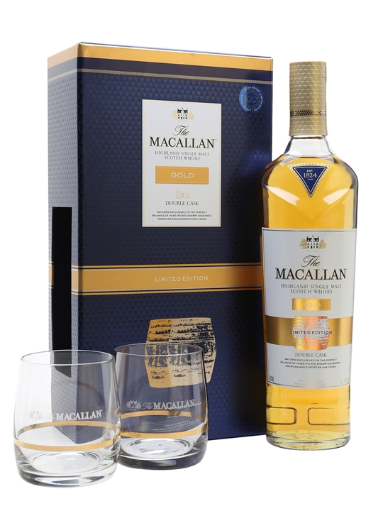 Macallan Gold 2 Glass Gift Set Speyside Single Malt Scotch Whisky