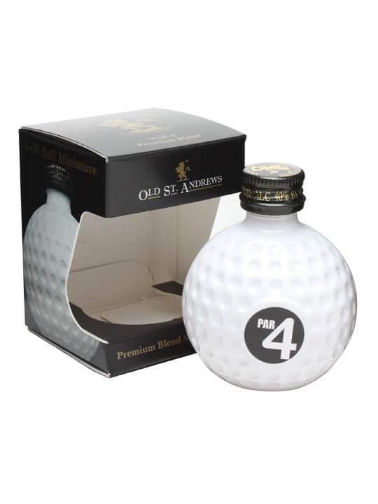 Old St Andrews Par 4 Blended Whisky Golfball  Miniature Blended Whisky