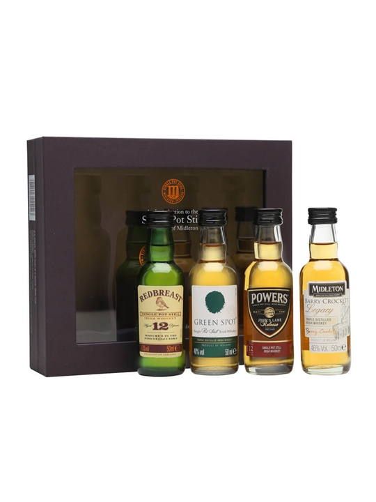Irish Single Pot Still Whiskey Miniatures Gift Set / 4x5cl