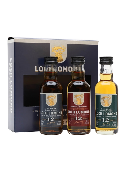 Loch Lomond Distillery 12 Year Old Miniature Gift Set /3x5cl Highland Whisky
