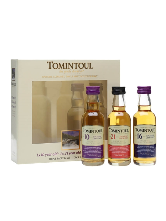 Tomintoul Triple-Pack 10 Yrs, 16 Yrs & 21 Yrs / 3x5cl Speyside Whisky