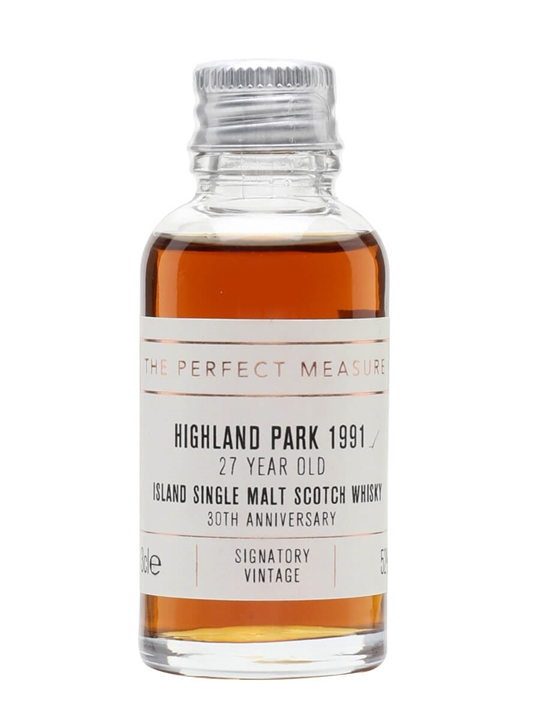 Highland Park 1991 Sample / 27 Year Old /Signatory 30th Ann. Island Whisky