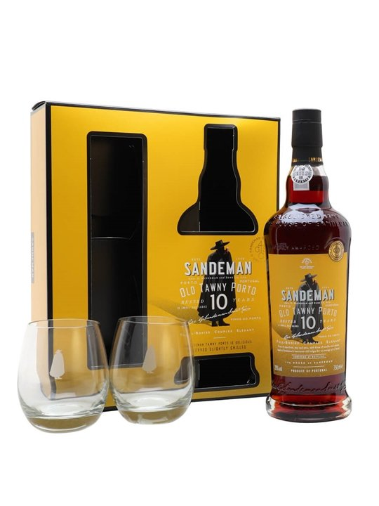 Sandeman 10 Year Old Tawny Port / Glass Set