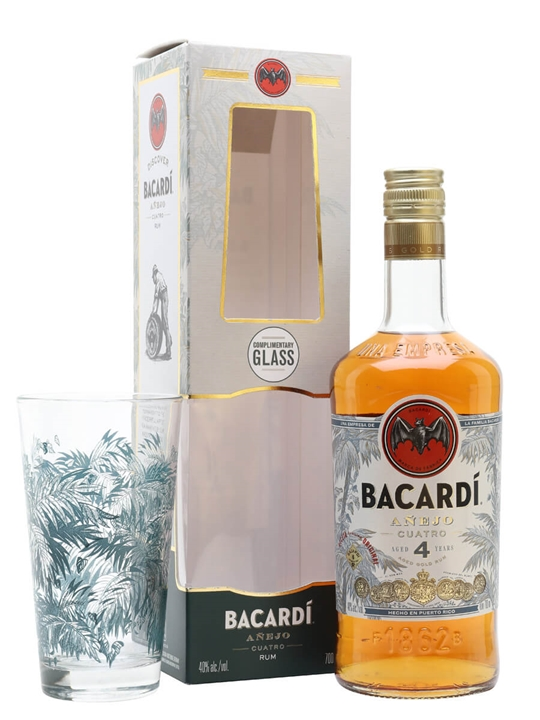 Bacardi Anejo Cuatro / 4 Year Old / Glass Pack Single Modernist Rum